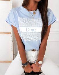 Тениска с ефектен принт в синьо - код 11944