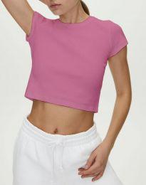 Къса изчистена тениска в розово - код 0708