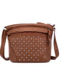 Дамска чанта в кафяво с много джобове и капси - код B134