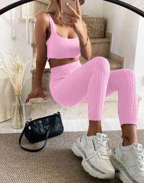 Ежедневен дамски сет къс топ и клин плетиво в розово - код 10077