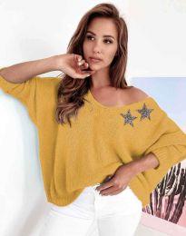 Дамски свободен пуловер с паднало рамо в цвят горчица - код 1865