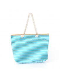 Плажна чанта на райе в светлосиньо с въжени дръжки - код H-9030