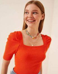 Дамска блуза с атрактивни ръкави рипс в оранжево - код 1300