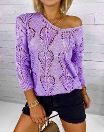 Дамски пуловер с едра плетка в лилаво - код 4781