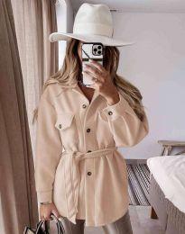 Дамско палто с копчета и колан в цвят капучино - код 6398