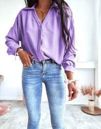 Елегантна свободна дамска риза с дълъг ръкав в светлолилаво - 7291