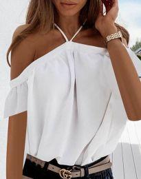Атрактивна свободна дамска блуза с голи рамене в бяло - код 4253