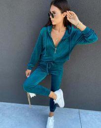 Спортен дамски комплект със суичър с цип и качулка и долнище в цвят тюркоаз - код 7953