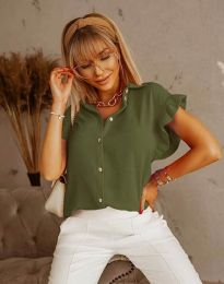 Дамска риза къс ръкав с къдрици в масленозелено - код 4136