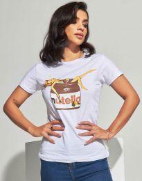 Дамска тениска в бяло с принт - код 0285