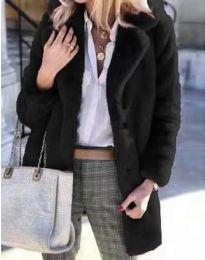 Дамско зимно пухено палто с копчета в черно - код 4664