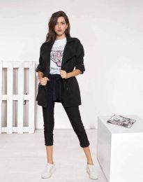 Атрактивно дълго дамско сако от велур в черно - код 8135