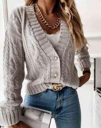Дамска къса плетена жилетка с копчета в сиво - код 3876