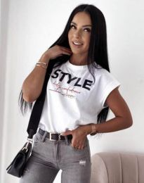 Бяла тениска с ефектен принт - код 11760