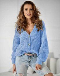 Дамска къса плетена жилетка с копчета в светлосиньо  - код 4087
