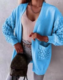 Модерна дълга свободна плетена жилетка в синьо - код 0785