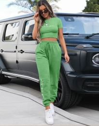 Дамски комплект къс топ и ангуг в зелено - код 4304