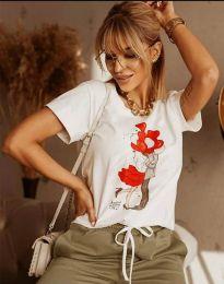 Тениска в бяло с моден принт - код 2283