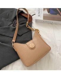Дамска чанта в цвят капучино с ефектна закопчалка - код B88