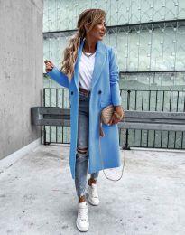 Дълго елегантно дамско палто с копчета в светлосиньо - код 8746