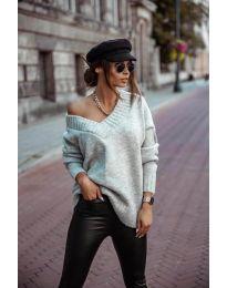 Džemper - kod 5952 - siva