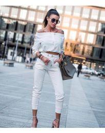 Дамски комплект блуза и панталон в бяло - код 6567