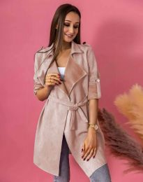 Атрактивно дълго дамско сако велур с колан в цвят пудра - код 7893