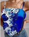 Атрактивен къс дамски топ потник в синьо - код 0664